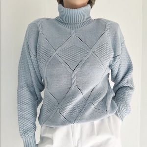 Light Blue Crochet Style Turtleneck Sweater